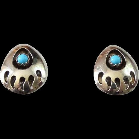 Southwestern Bear Paw Turquoise Pierced Post Earrings Hallmarked Sterling