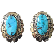 Old Navajo Oval Turquoise Pierced Post Earrings Hallmarked BS Sterling