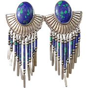 Vintage Navajo Azurite Malachite Long Dangle Pierced Post Concho Earrings Signed STC Sterling