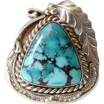Navajo Man's Ring Size 11.5 Turquoise and Sterling Silver Hallmarked Fabulous