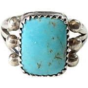 Old Southwestern Native American Turquoise Ring Size 6.5 Sterling Silver Rectangular Stone