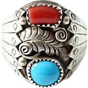 Old Navajo Man's Ring Turquoise and Red Coral Size 9.75 Sterling Silver Native American