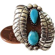 Old Navajo Shadowbox Turquoise Ring with Feathers Size 5.5 Sterling Silver