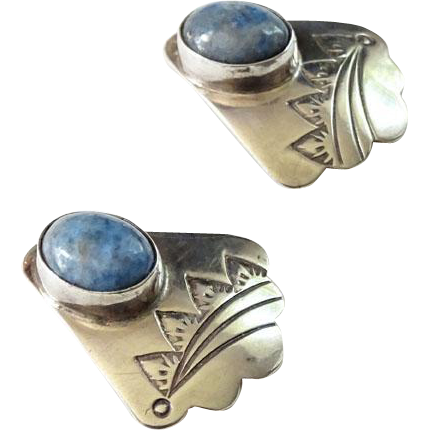 Old Southwestern Pierced Post Earrings Denim Lapis Hallmarked Sterling