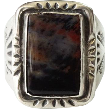 Vintage Navajo Man's Petrified Wood Ring Sterling Silver Size 10.5 Native American