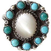 Old Zuni Turquoise Snake Eye Pinky Ring with Mother of Pearl Size 4 to 4.25