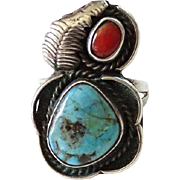 Old Morenci Turquoise and Red Coral Sterling Silver Ring Navajo Native American Size 8.25