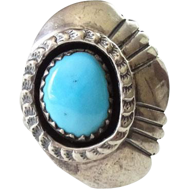 Southwestern Native American Turquoise Shadowbox Ring Hallmarked Sterling Size 5