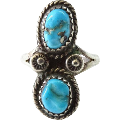 Old Navajo Morenci Turquoise Ring Size 5.25 Hallmarked JN