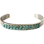 Old Native American Zuni Turquoise Inlay Cuff Bracelet Cast Sterling Silver