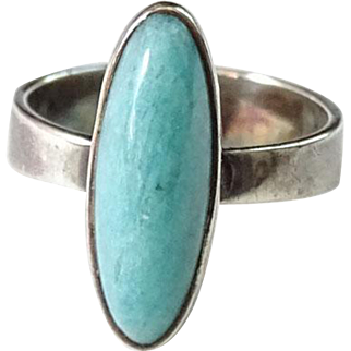 Vintage Turquoise and Sterling Silver Ring Hallmarked 925 RSA Size 6