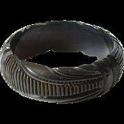 Vintage Deeply Carved Licorice Black Bakelite Bangle Bracelet Geometric Art Deco Tested Bakelite Jewelry