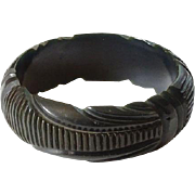 Vintage Deeply Carved Licorice Black Bakelite Bangle Bracelet Geometric Art Deco Tested Bakelite Jewelry