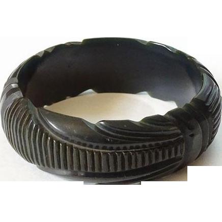 Vintage Deeply Carved Licorice Black Bangle Bracelet