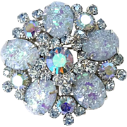 Juliana Blue Pressed Glass Floral Pattern Rhinestone Brooch Pin Verified DeLizza Elster