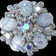 Juliana Blue Pressed Glass Floral Pattern Rhinestone Brooch Pin Verified DeLizza Elster