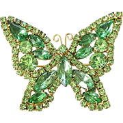 Juliana Green Rhinestone Designer Butterfly Pin Brooch DeLizza and Elster Goldtone Setting