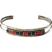 Vintage Southwestern Coral and Onyx Channel Inlay Sterling Silver Cuff Bracelet Native American