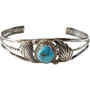 Vintage Child Size Southwestern Morenci Turquoise Navajo Cuff Bracelet Sterling Silver