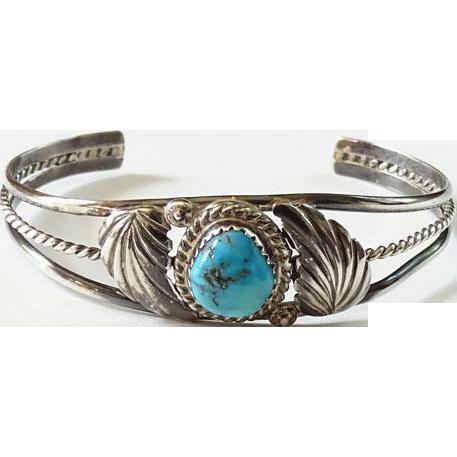 Vintage Child Size Southwestern Morenci Turquoise Navajo Cuff Bracelet Sterling Silver