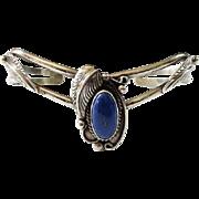 Vintage Navajo Lapis Lazuli Cuff Bracelet Hallmarked Sterling R.M.J.