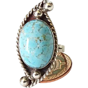 Vintage Taxco Mexico Southwestern Size 7 Turquoise Ring 925 Sterling Silver Hallmarked