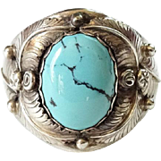Vintage Navajo Man's Turquoise Ring Size 11.75 Hallmarked Sterling SR