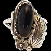 Vintage Southwestern Black Onyx Ring Size 7.5 Hallmarked Sterling Y 925