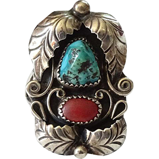 Vintage Navajo Coral and Turquoise Nugget Ring Feather Appliques Sterling Silver Size 8.5