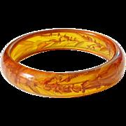 Vintage Reverse Carved Bakelite Bangle Bracelet Apple Juice Amber Translucent Tested Bakelite Jewelry