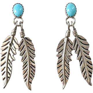 Vintage Southwestern Turquoise and Sterling Silver Pierced Post Earrings Feather Dangles