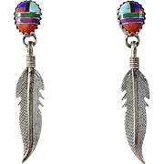 Vintage Zuni Sterling Silver Channel Inlay Pierced Earrings Turquoise Coral Lapis Spiny Oyster Sugilite
