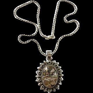 Vintage Gemstone Sunburst Pendant Necklace Signed 925 Sterling Silver 18 Inch Chain