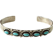 Vintage Southwestern Native American Needlepoint Turquoise Cuff Bracelet Sterling Silver