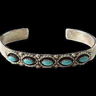 Vintage Southwestern Native American Needlepoint Turquoise Cuff Bracelet Sterling Silver