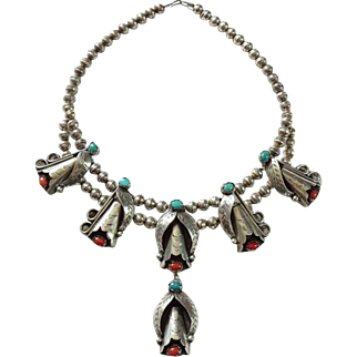 Navajo Silversmith Raymond Etsitty C.T.E. Sterling Pendant Necklace Turquoise Coral