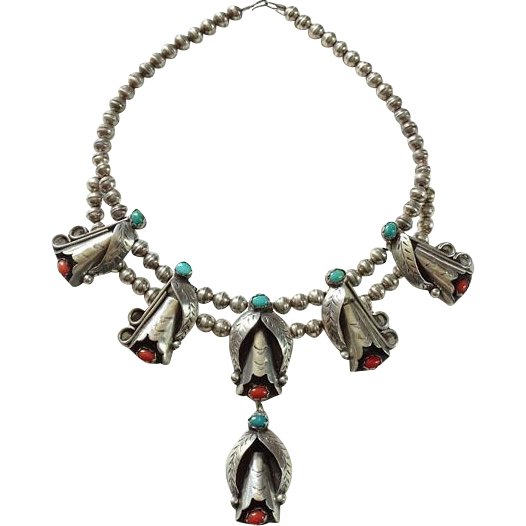 Navajo Silversmith Raymond Etsitty C.T.E. Sterling Pendant Necklace Turquoise Coral