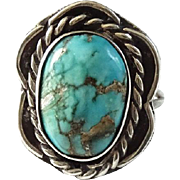 Native American Navajo Morenci Spider Web Turquoise Ring Size 7.5 Sterling Silver