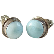 Vintage Larimar Gemstone and Sterling Silver Pierced Post Earrings
