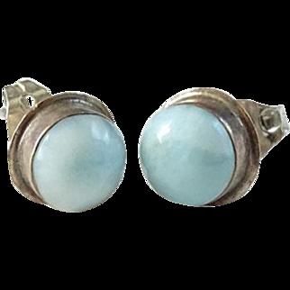 Vintage Larimar Gemstone and Sterling Silver Pierced Post Earrings