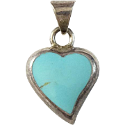 Vintage Mexico Mexican Turquoise Heart Necklace Pendant Hallmarked ATI 925 Sterling