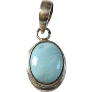 Vintage Larimar Gemstone Oval Cabochon Necklace Pendant in Sterling Silver
