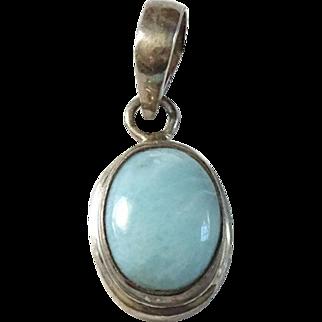 Vintage Larimar Gemstone Oval Cabochon Necklace Pendant in Sterling Silver