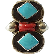 Vintage Native American Zuni Jimmie Etsate Turquoise and Coral Ring Size 5.5