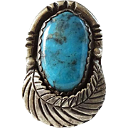 Fabulous Old Navajo Turquoise Ring with Sterling Feather Size 7.5 to 7.75