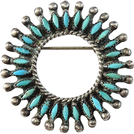 Vintage Native American Zuni Needlepoint Turquoise Circle Pin Brooch in Sterling Silver