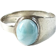 Vintage Larimar Oval Cabochon Gemstone and Sterling Silver Ring Size 8.5