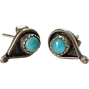 Vintage Native American Snake Eye Turquoise Pierced Post Earrings in Sterling Silver