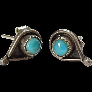 Vintage Native American Snake Eye Turquoise Pierced Post Earrings in Sterling Silver