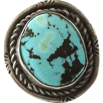 Old Navajo Sterling and Turquoise Ring Pyrite Black Matrix Size 9.5 Native American
